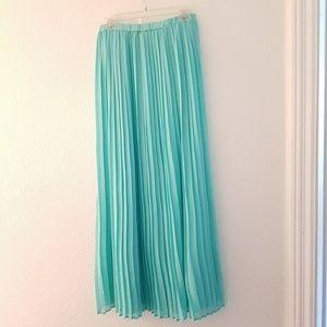Mint Green / Aqua Green Mini Pleated Long Skirt